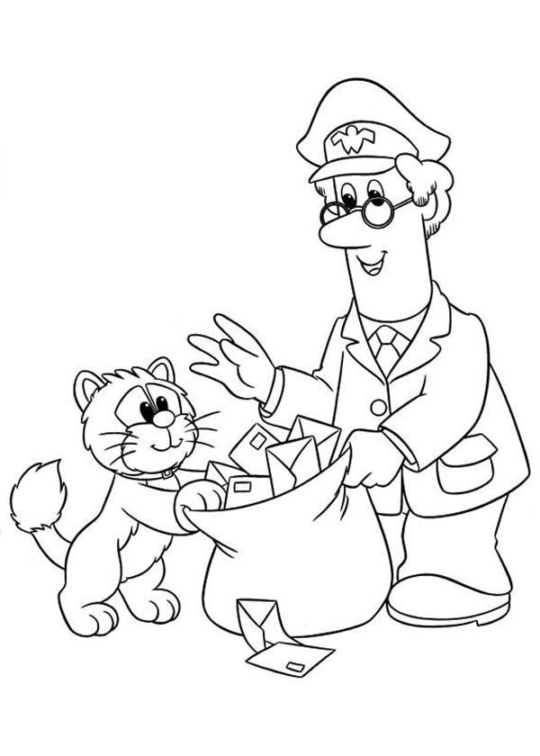 Postman Pat, : Postman Pat Put All Mail in a Bag Coloring Pages
