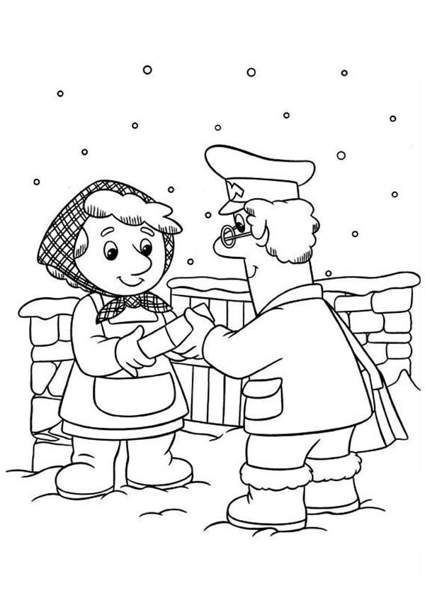 Postman Pat, : Postman Pat Still Deliver Mail in Snow Weather Coloring Pages