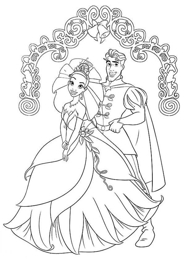 Prince Naveen And Princess Tiana Wedding Day In The Frog Coloring Pages