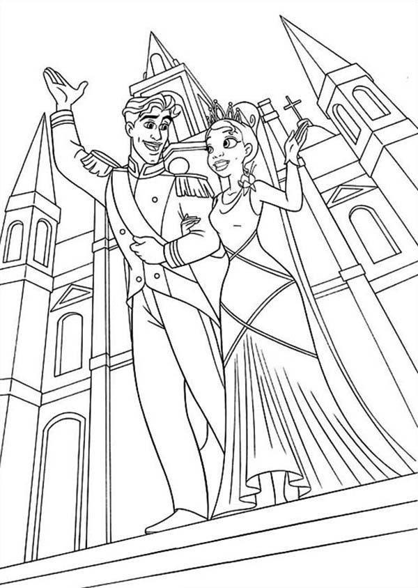 Princess and the Frog, : Prince Naveen and Princess Tiana is Married in Princess and the Frog Coloring Pages