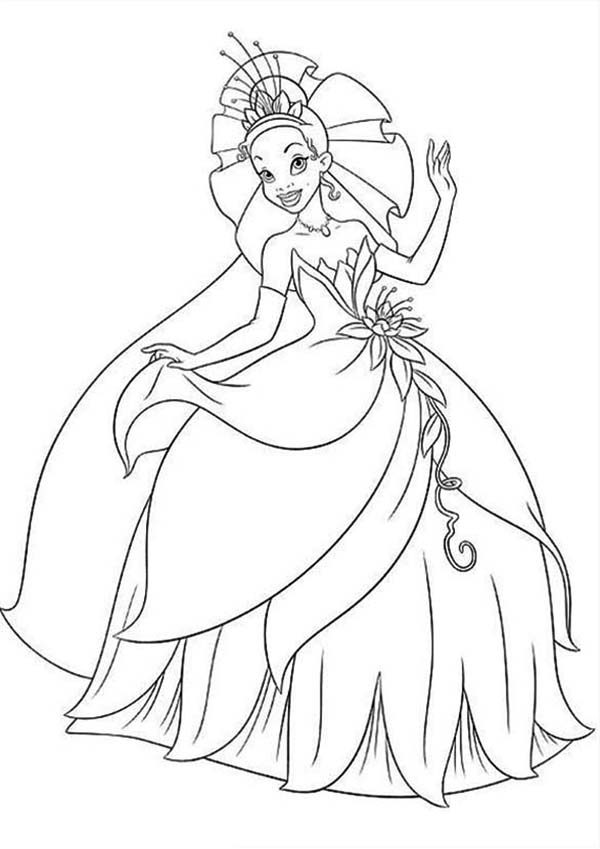 Princess and the Frog, : Princess Tiana Floral Gown in Princess and the Frog Coloring Pages