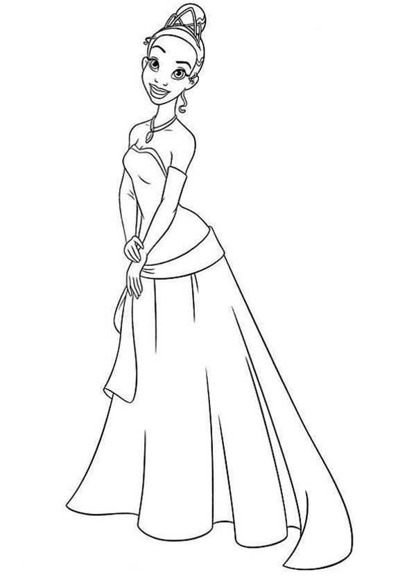Princess Tiana Waiting For Prince Naveen In And The Frog Coloring Pages