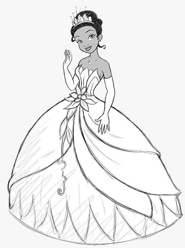 Princess Tiana Wearing Beautiful Crown And The Frog Coloring Pages