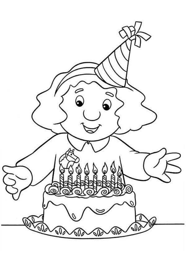 Postman Pat, : Sarah Gilbertson Ready to Blow Candles in Postman Pat Coloring Pages
