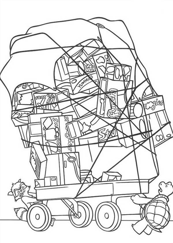 Over the Hedge, : Verne and RJ Pull Stack of Present in Over the Hedge Coloring Pages