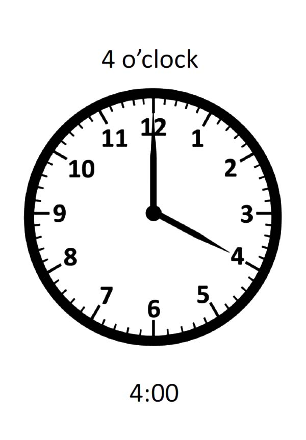 Analog Clock, : 04 O'Clock on Analog Clock Coloring Pages