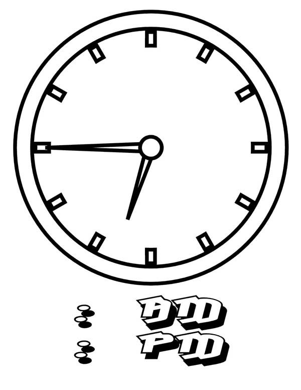 Analog Clock, : 15 to 07 Clock on Analog Clock Coloring Pages