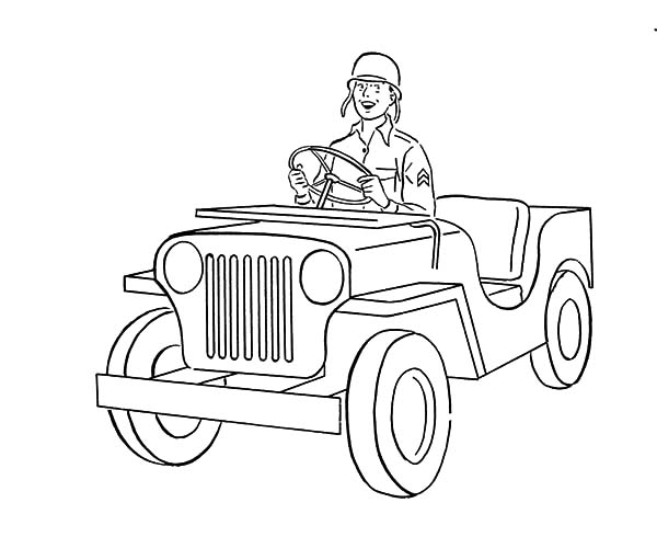 Army Car, : A Soldier Driving Army Car Coloring Pages