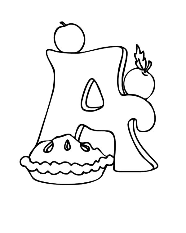 Apple Pie, : A is for Apple Pie Coloring Pages