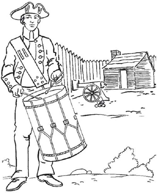 American Revolution Flag, : American Soldier Revolution Fight for American Revolution Flag Coloring Pages