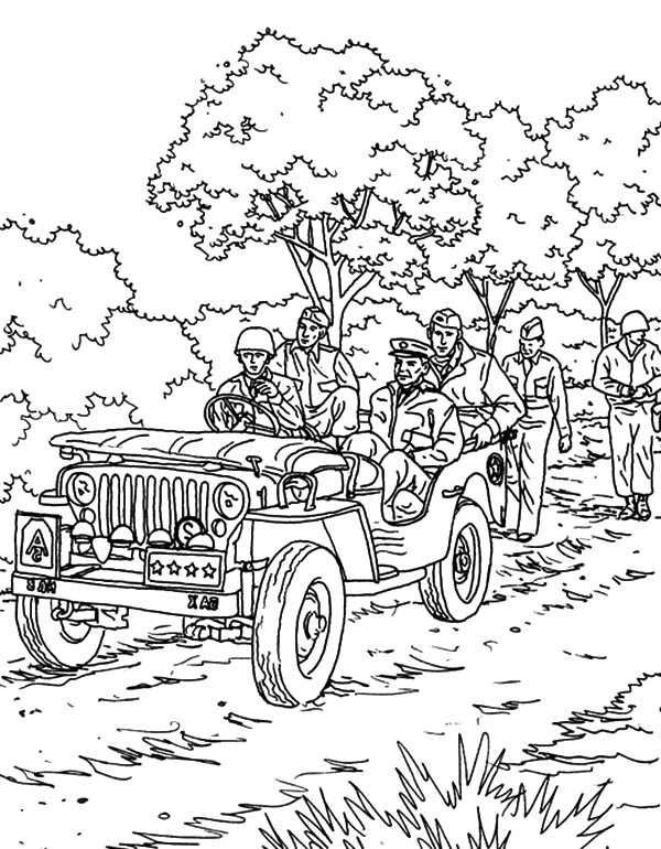 Army Car, : An Army Troops Partol with Army Car Coloring Pages