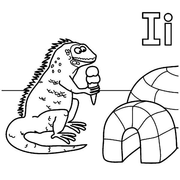 Igloo, : An Iguana Eat Ice Cream in Front of Igloo Coloring Pages