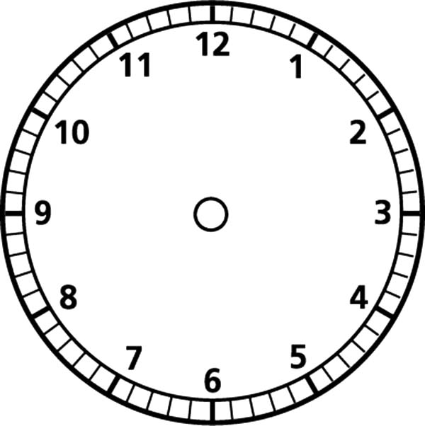 Analog Clock, : Analog Clock Blank Face Coloring Pages
