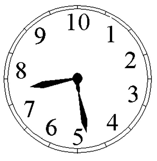 Analog Clock, : Analog Clock Picture Coloring Pages