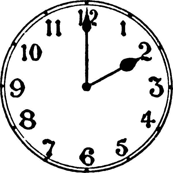Analog Clock, : Analog Clock Pointing at Two O'Clock Coloring Pages
