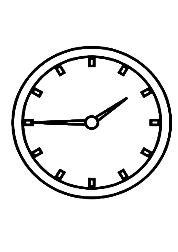 Analog Clock On The Wall Coloring Pages