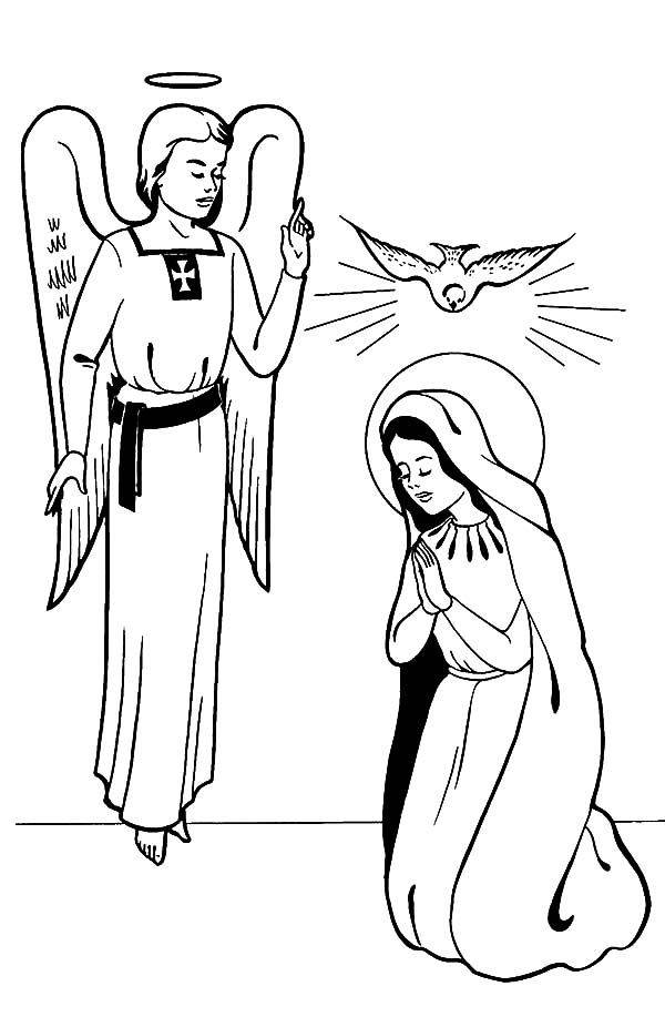 Angel Appears To Mary, : Angel Appears to Mary Coloring Pages for Kids