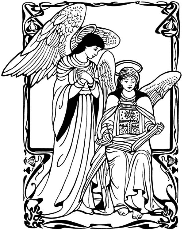 Angel Appears To Mary, : Angel Appears to Mary Coloring Pages