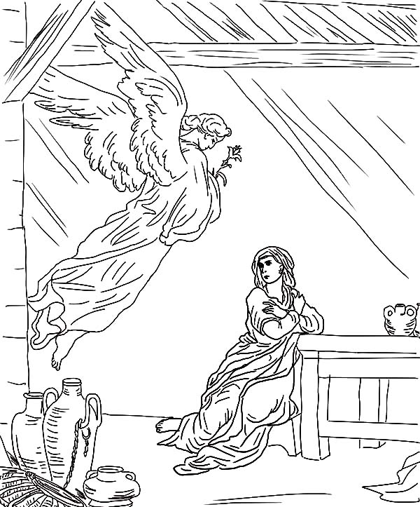Angel Appears To Mary, : Angel Appears to Mary Flying from the Sky Coloring Pages
