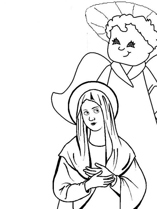 Angel Appears To Mary, : Angel Appears to Mary While She Pray Coloring Pages