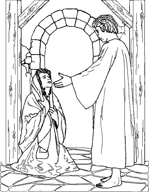 Angel Appears To Mary And Joseph Coloring Pages