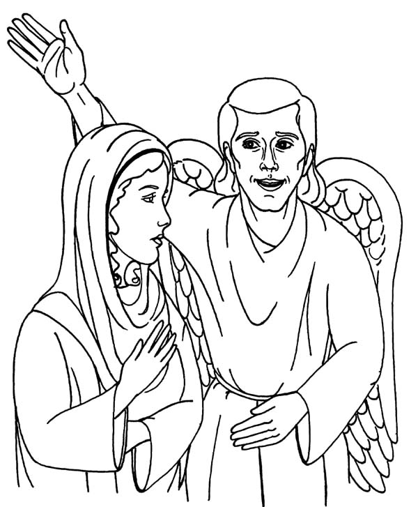 Angel Appears To Mary And Speak Her Coloring Pages