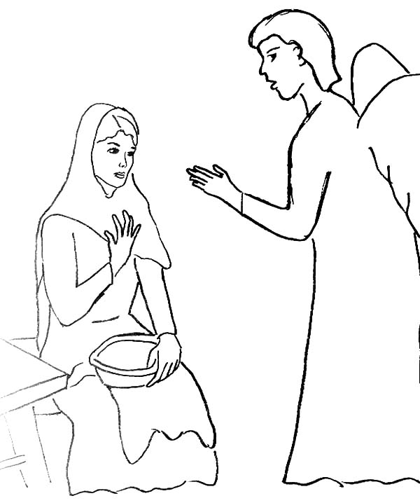 Angel Appears To Mary And Talking To Her Coloring Pages