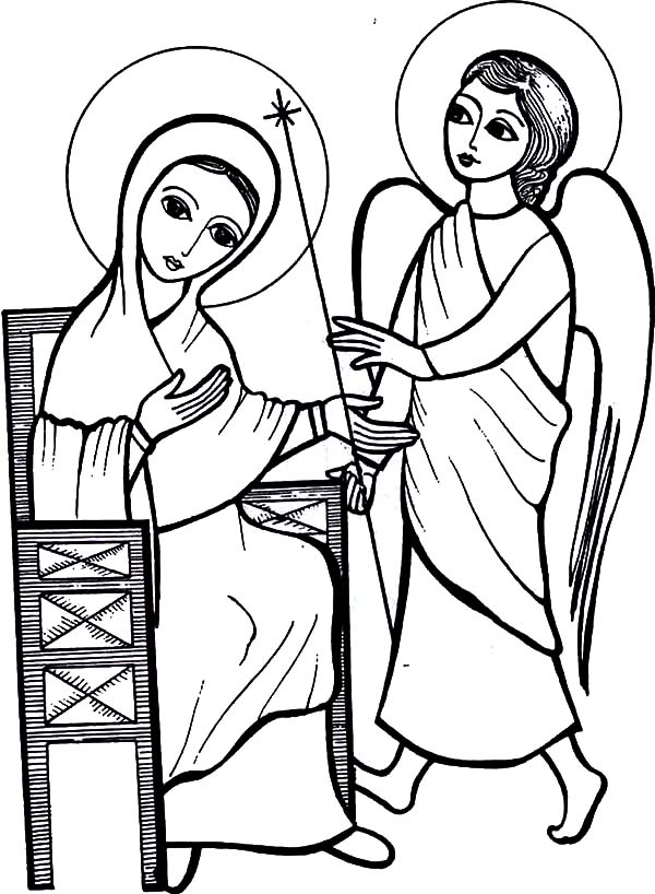 Angel Appears To Mary, : Angel Appears to Mary and Told Her She Conceived Baby Jesus Coloring Pages