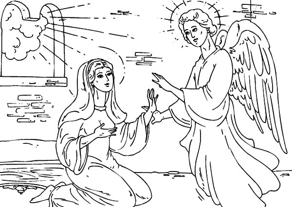 Angel Appears To Mary, : Angel Appears to Mary in Her House Coloring Pages
