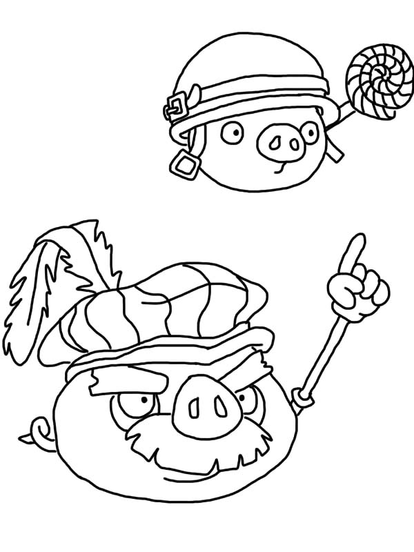 Angry Bird Pigs, : Angry Bird Pigs King Give Command Coloring Pages