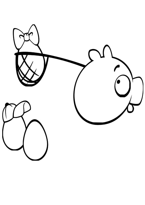 Angry Bird Pigs, : Angry Bird Pigs Stole Angry Bird Eggs Coloring Pages