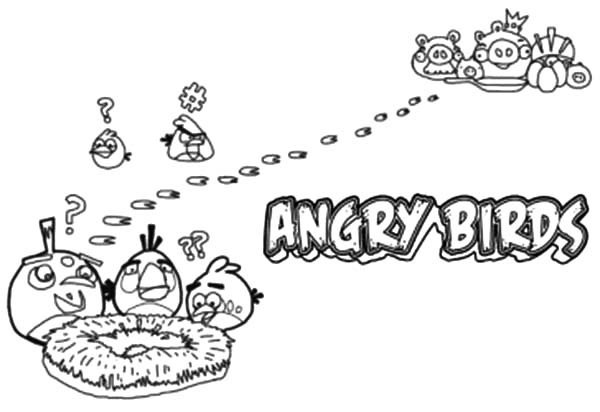 Angry Bird Pigs, : Angry Bird Pigs Stole Bird Eggs Coloring Pages