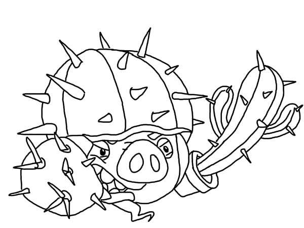 Angry Bird Pigs, : Angry Bird Pigs Wearing Cactus as Weapon Coloring Pages