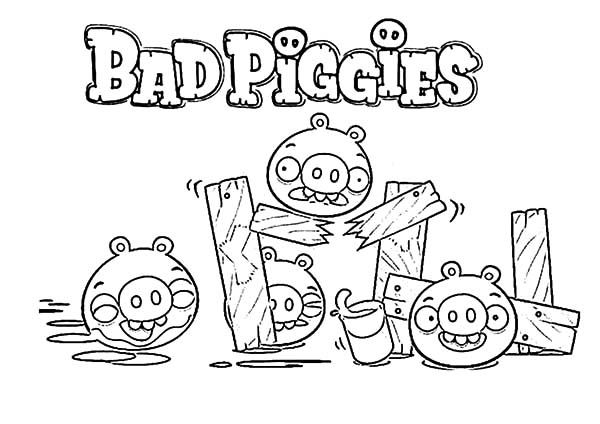 Angry Bird Pigs, : Angry Bird Pigs is Bad Piggies Coloring Pages