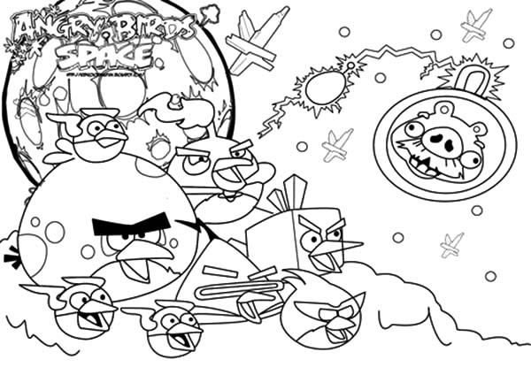 Angry Bird Space, : Angry Bird Space Attack Space Pigs Coloring Pages