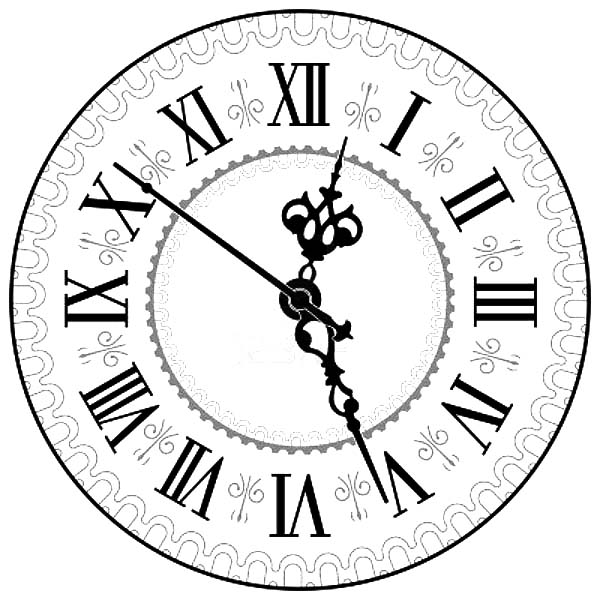 Analog Clock, : Antique Analog Clock Coloring Pages