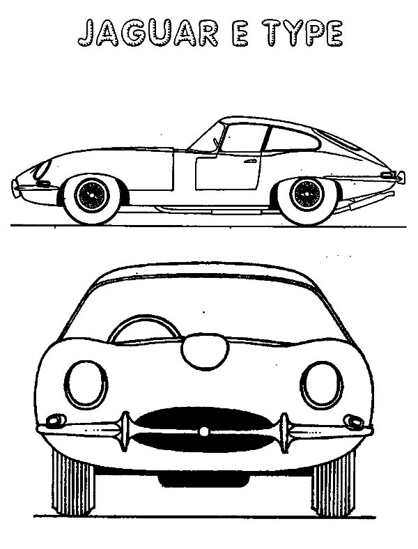 Jaguar Cars, : Antique Cars Jaguar E Type Coloring Pages