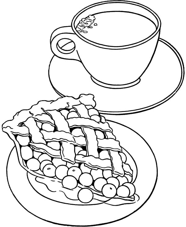 Apple Pie, : Apple Pie and A Cup of Tea Coloring Pages