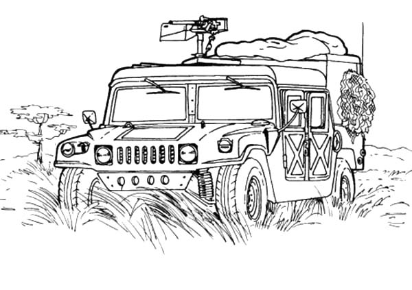 Army Car, : Army Car Coloring Pages