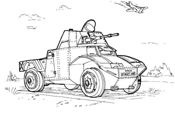 Army Car, : Army Car Combat Coloring Pages
