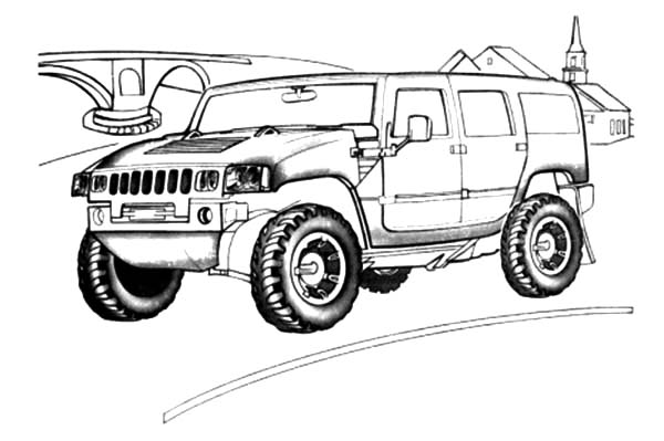 Army Car, : Army Car Hummer H2 Coloring Pages
