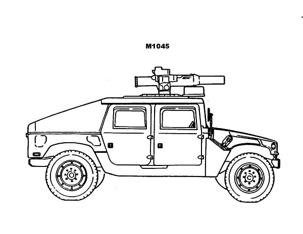 Army Car, : Army Car with Heavy Artilery Coloring Pages