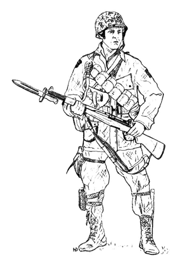 army holding bayonet coloring pages