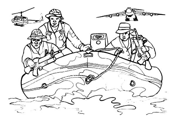Army, : Army on Boat Coloring Pages