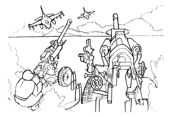Army, : Army with Heavy Artilery Coloring Pages