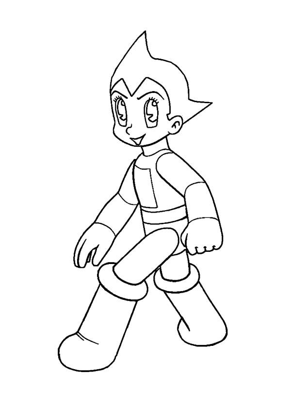 Astro Boy, : Astro Boy Walking Quietly Coloring Pages