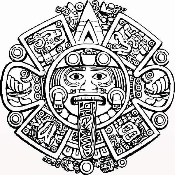 Aztec Symbol of God Coloring Pages Bulk Color