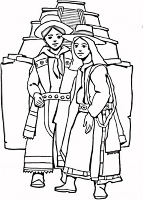 Aztec, : Aztec Couple Coloring Pages