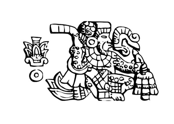 Aztec, : Aztec King in Burial Ceremonial Coloring Pages