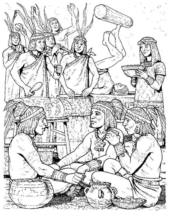 Aztec, : Aztec People Daily Activity Coloring Pages